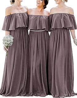 Bridesmaid Dress Chiffon Long Bridesmaid Dresses Off Shoulder Ruffles Prom Dress