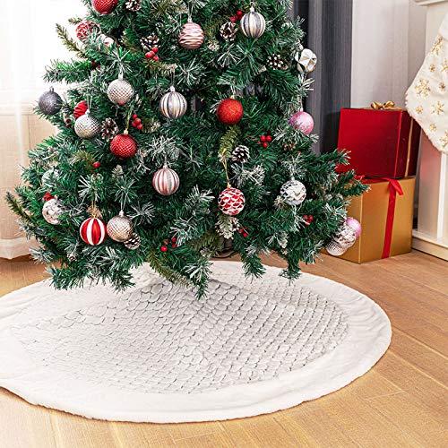 Deggodech Falda de Felpa para Árbol de Navidad Blanco Faldas Arbol Navidad Christmas Tree Skirt para Feliz Fiesta de Navidad Decoración (Plata Lentejuelas, 122cm/48pulgada)