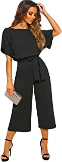Women's Loose Casual Sash Rompers and Jumpsuits Playsuit with Batwing Short Sleeve