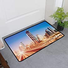 TableCovers&Home Low-Profile Mat, Urban Decorative Imdoor Rugs for Kids Room, Modern Subway Line in Dubai Tracks Skyscrapers Futuristic View Commercial (Pale Brown Blue White, H36 x W60)
