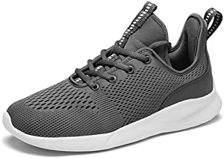 ZUAN Fashion Sneakers for Men Low Top Walking Sport Shoes Elastic Superficial Lace Up Mesh Rung Toe Anti-Slip Breathable Lightweight