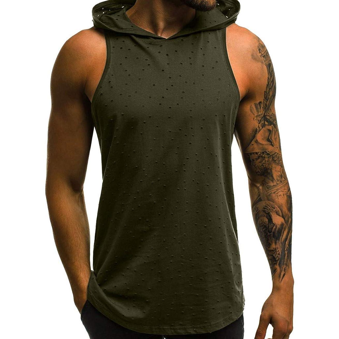 GONKOMA Men's Tank Tops Hooded Tank T-Shirt Men Fitness Muscle Hole Sleeveless Hooded Bodybuilding T-Shirt