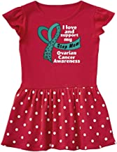 inktastic I Love and Support My Step Mom Ovarian Cancer Teal Ribbon Infant Dress