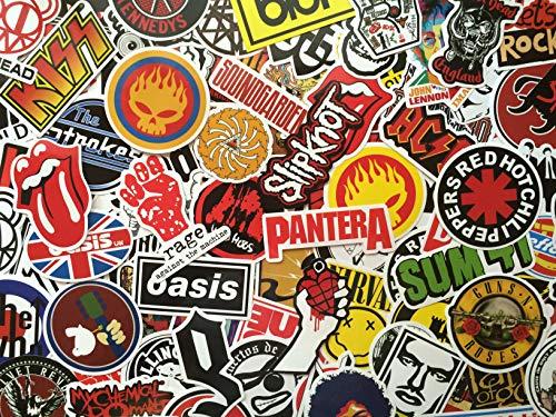 S&B Paquete de Pegatinas Rock, música, Logo, Grupo de Rock, Hard-Rock, Pop, Punk,Negro, Lote de Stickers Grupo de música, Rock n Roll, Grafiti, Laptop Macbook, Skate, Valijas, Coches, Bicicletas (50)