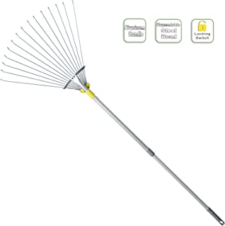 Jardineer 63 inch Adjustable Garden Rake Leaf, Collect Loose Debris Among Delicate Plants, Lawns and Yards, Expandable Hea...
