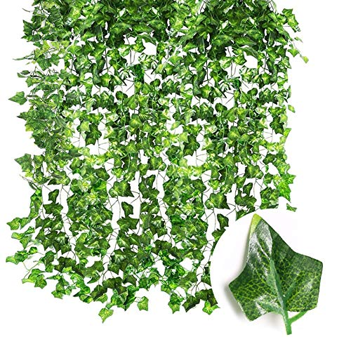Gxhong Piante Edera Artificiali Plastica Piante Sospese Artificiali Verde Ghirlanda Edera Pianta Finta per Festa di Matrimonio Decorazione Parete Balcone Giardino 12 Pezzi – Foglie Patata Dolce