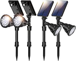 ROSHWEY Motion Sensor Solar Light Outdoor Solar Powered Landscape Spotlights 2-in-1 Waterproof LED Spot Lights Dusk to Dawn 4 Modes Wall Lamp for Lawn Tree Flower Flag Flagpole Cool White 4 Pack