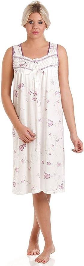 Femme Poly Coton à Manches Courtes Imprimé Floral Chemise de nuit en rose bleu MN11