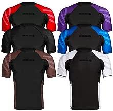 Sanabul Essentials Short Sleeve Compression Training Rash Guard for MMA BJJ Wrestling