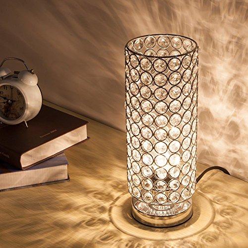 ZEEFO Kristall Tischlampe, klassische dekorative Nachttischlampe mit silbernem Lampenschirm, Feste Kristall Tischleuchte für Wohnzimmer, Schlafzimmer, Esszimmer und Küche (Silbern)
