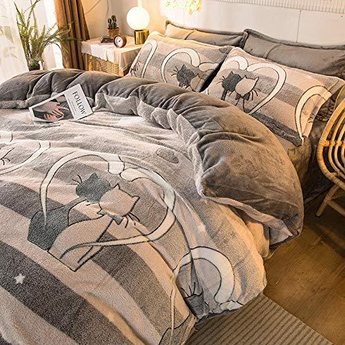Bedding-LZ Juego de Funda nórdica 135-Snow Fleece Crystal Velvet Print Juego de Cuatro Piezas de sábana de Calidez Funda nórdica Funda de Almohada Ropa de Cama Regalo-PAGS_Cama de 2,0 m (4 Piezas)