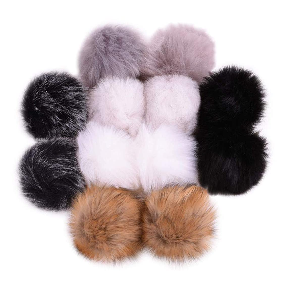 12 Pack DIY Faux Fox Fur Fluffy Pompom Ball for Knitting Hats, Shoes, Scarves, Keychains and Bag Charms, 4 inch Mix Colors