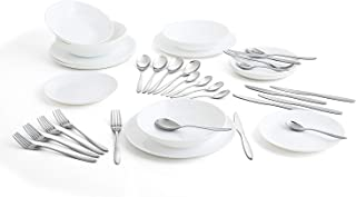 Arcopal Complete White Dinnerware Set for 6 People (18 Cutlery Set 24 Amefa, Opal Glass, Single, 19 Pieces
