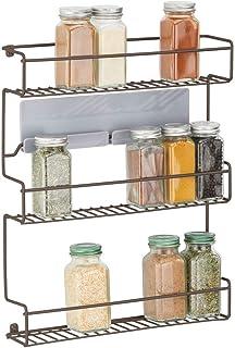 mDesign étagère de cuisine à 3 niveaux – rangement de cuisine en métal – idéal comme range épices et pour organiser l'espa...
