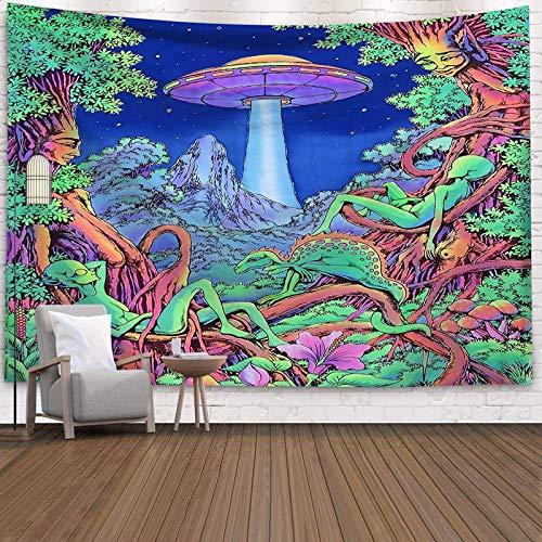 KHKJ Psychedelic Moon Starry Gran Tapiz Flor Colgante de Pared habitación Cielo Alfombra Dormitorio tapices Arte decoración del hogar Accesorios A8 200x180cm