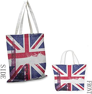 Tote bag Union Jack Grungy Aged UK Flag Big Ben Double Decker Country Culture Historical Landmark Coin cash wallet 16.5