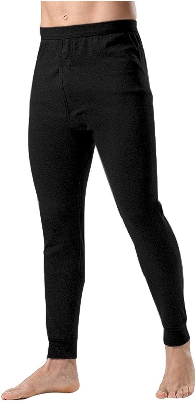 Glqwe Men's Thermo Underwear Fashion Men Thermal Long Johns Loose Mens Thermal Underwear Plus Size Warm Male Leggings Pants (Color : Black, Size : X-Large)