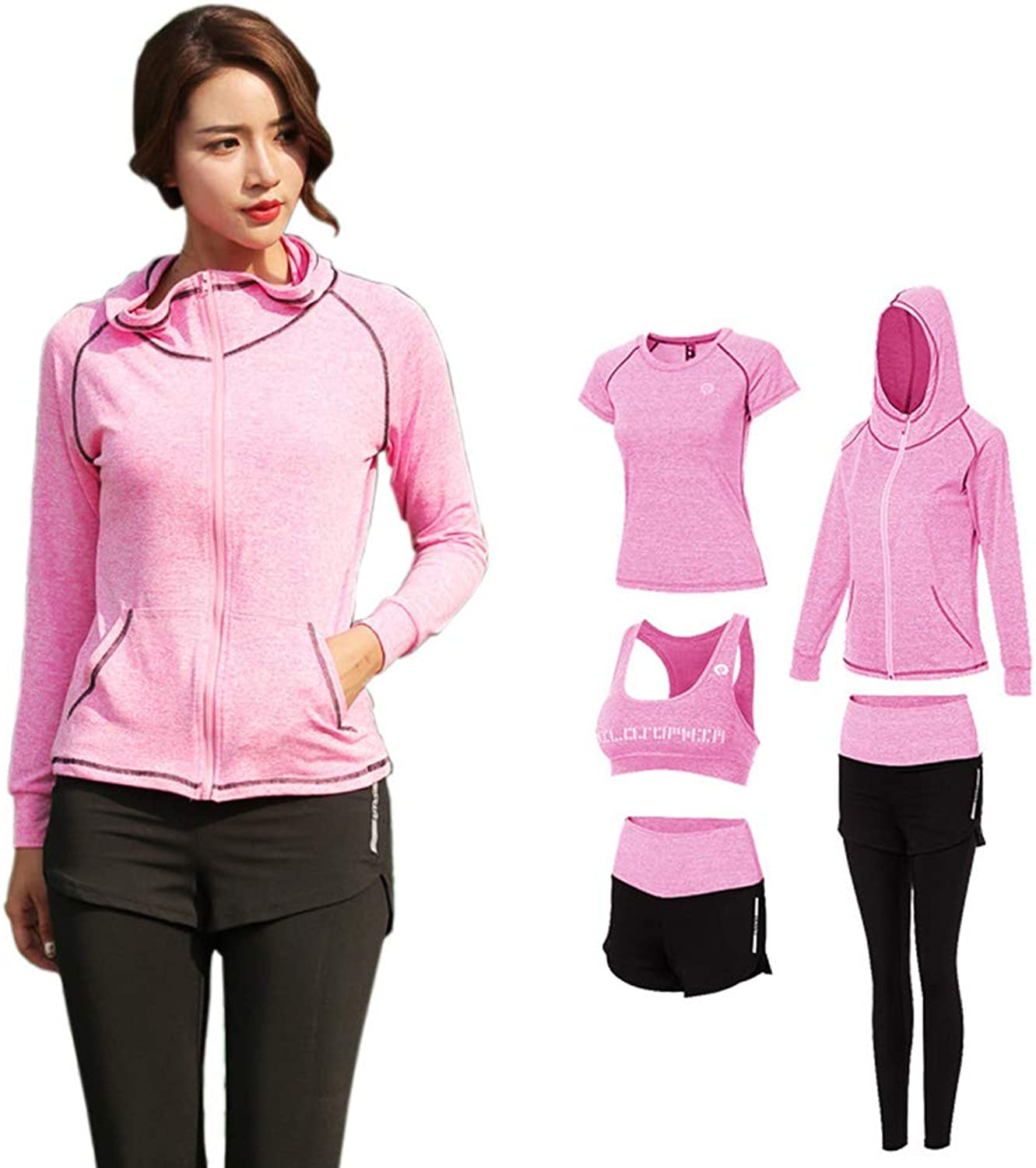 Women's Yoga Clothing Suit, Sports Outdoor Running Slim Jacket Fitness Clothes FivePiece Suit,XL