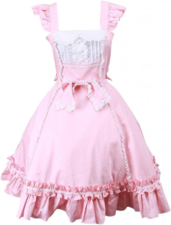 Cemavin Womens Sweet Pink Sleeveless Bow Cotton Lolita Dress