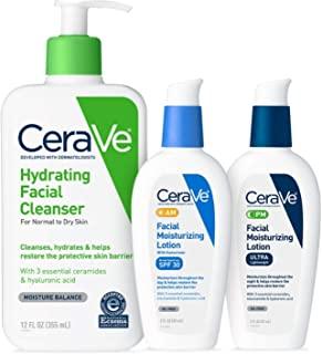 CeraVe Daily Skincare for Dry Skin | Hydrating Face Wash, AM Face Moisturizer with SPF 30, and PM Facial Lotion 1 ea