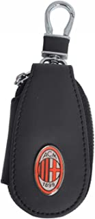 0901N #Ac Milan Schlüsselanhänger aus Leder mit Reißverschluss ohne Geschlecht, Schwarz, S