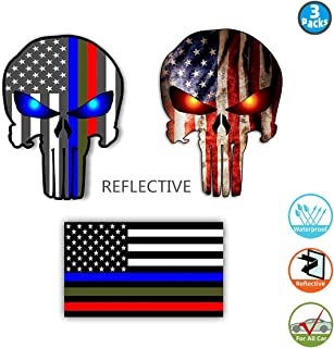 Bundle Reflective Thin Blue line Stickers - Thin Blue Line US Flag, Punisher Skull, Dark Night Decals Stickers, American USA Flag Vinyl Stickers Honoring Police Law Enforcement(3 pack)