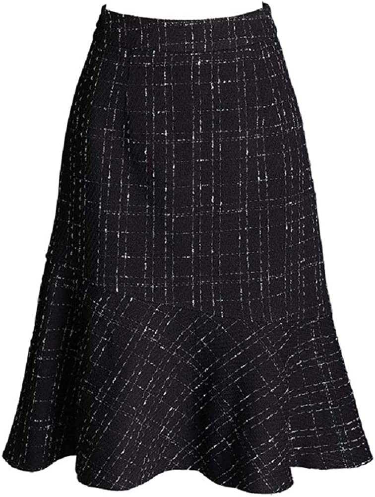 CHARTOU Women's High Waist Package Hip Plaid Ruffled Pencil Midi Long Skirts