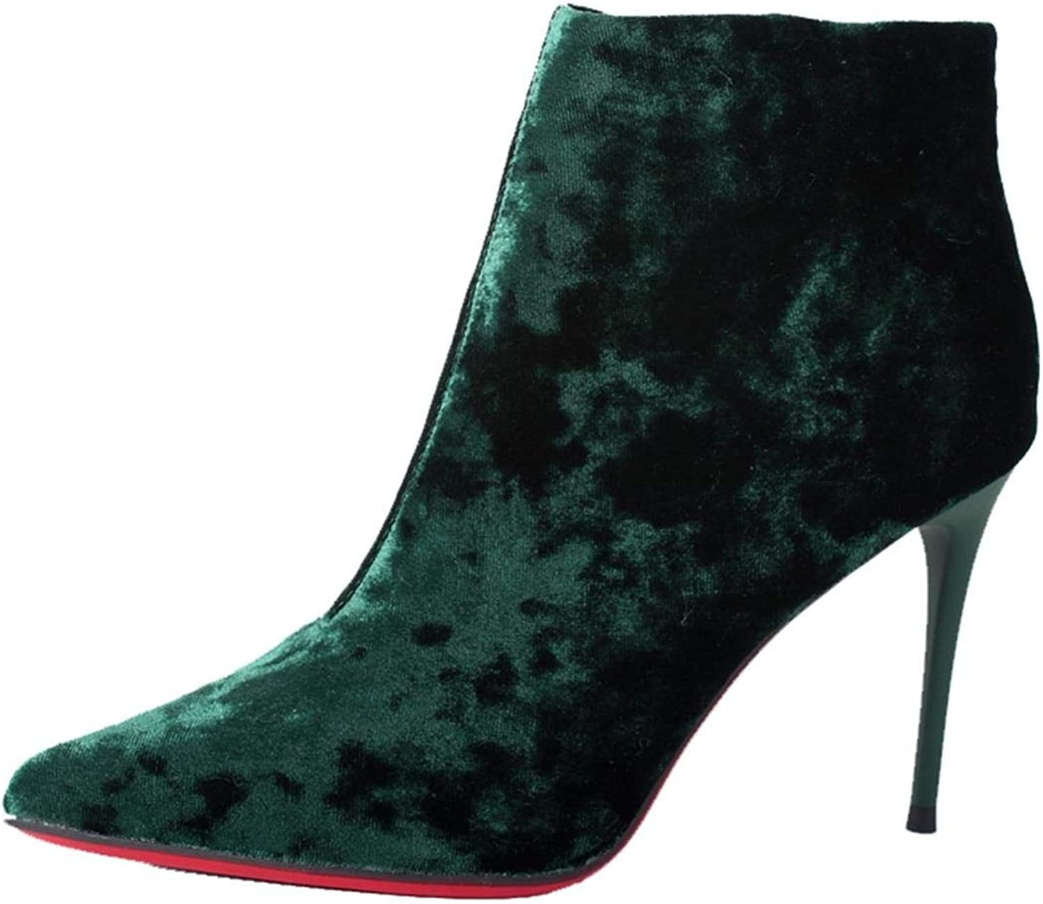 WSKEISP Womens Retro Floral Pointed Toe Side Zip Ankle Booties Stiletto High Heel Boot shoes