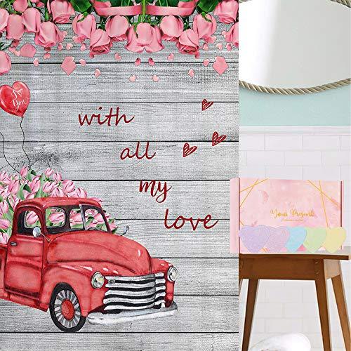 Valentinstag Duschvorhang mit 12 Badekugeln, Auto Gefüllt mit Rosa Tulpen & Luftballons Wasserdicht Duschvorhang mit 12 Haken & Badekugeln Geschenk-Set für Frauen für Badezimmer, Valentinstag