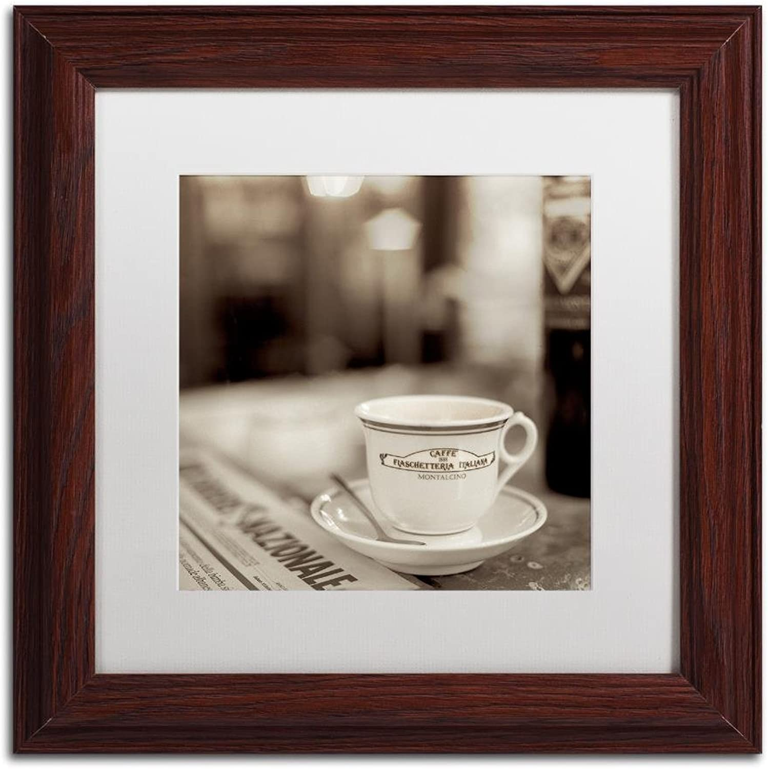 Trademark Fine Art Tuscany Caffe II by Alan bluestein, White Matte, Wood Frame, 11  X 11