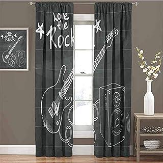 Waple rideau occultant œillet pour le salon Musique rock thème croquis art haut-parleur et guitare 220*215cm 2 Pièces Ride...
