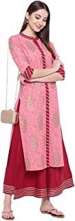 Khushal K Women's Cotton Printed Kurta With Palazzo Set