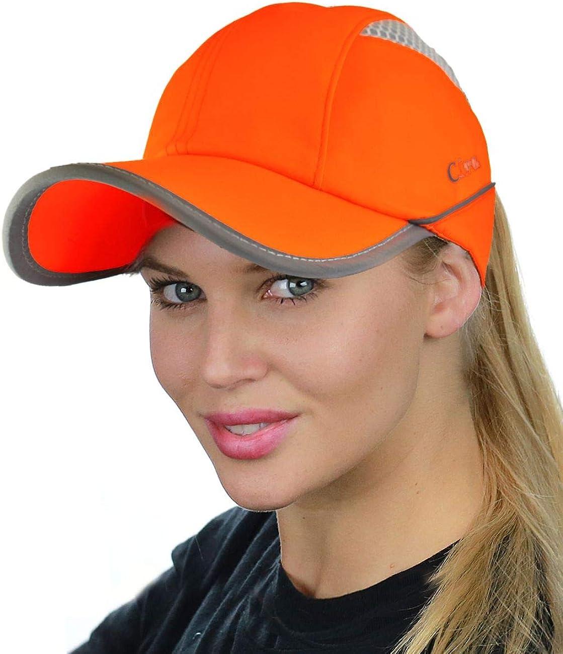 C.C Ponycap Messy High Bun Ponytail Water Resistant Adjustable Mesh Reflective Sporty Baseball Cap