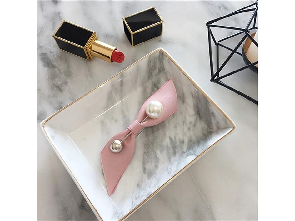 店員まどろみのあるブームOsize 美しいスタイル 女性の弓パールブローチヘアクリップダックビルクリップヘアアクセサリー(ピンク)