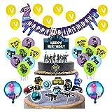 smileh Jeu Vidéo Anniversaire Decoration Jeu Vidéo Ballons Happy Birthday Bannière de Jeu Anniversaire Decoration Gateau de Jeu Décorations de Fête de Jeu Vidéo