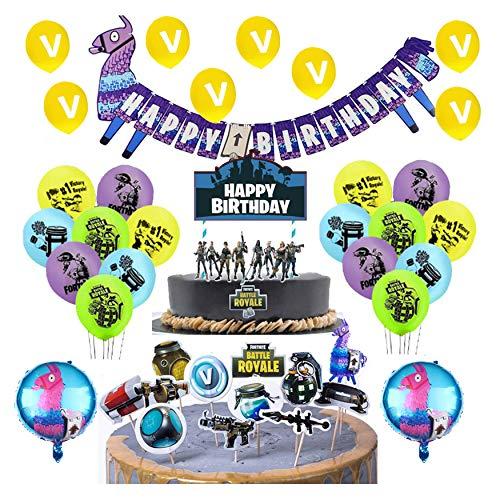 smileh Video Gaming Geburtstagsdeko Gaming Luftballons Videospiel Happy Birthday-Banner Video Gaming Tortendeko