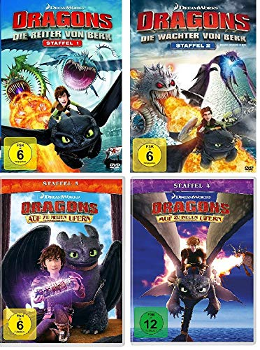 Dragons - Die Reiter/Wächter von Berk + Auf zu neuen Ufern - Staffel 1-4 im Set - Deutsche Originalware [16 DVDs]