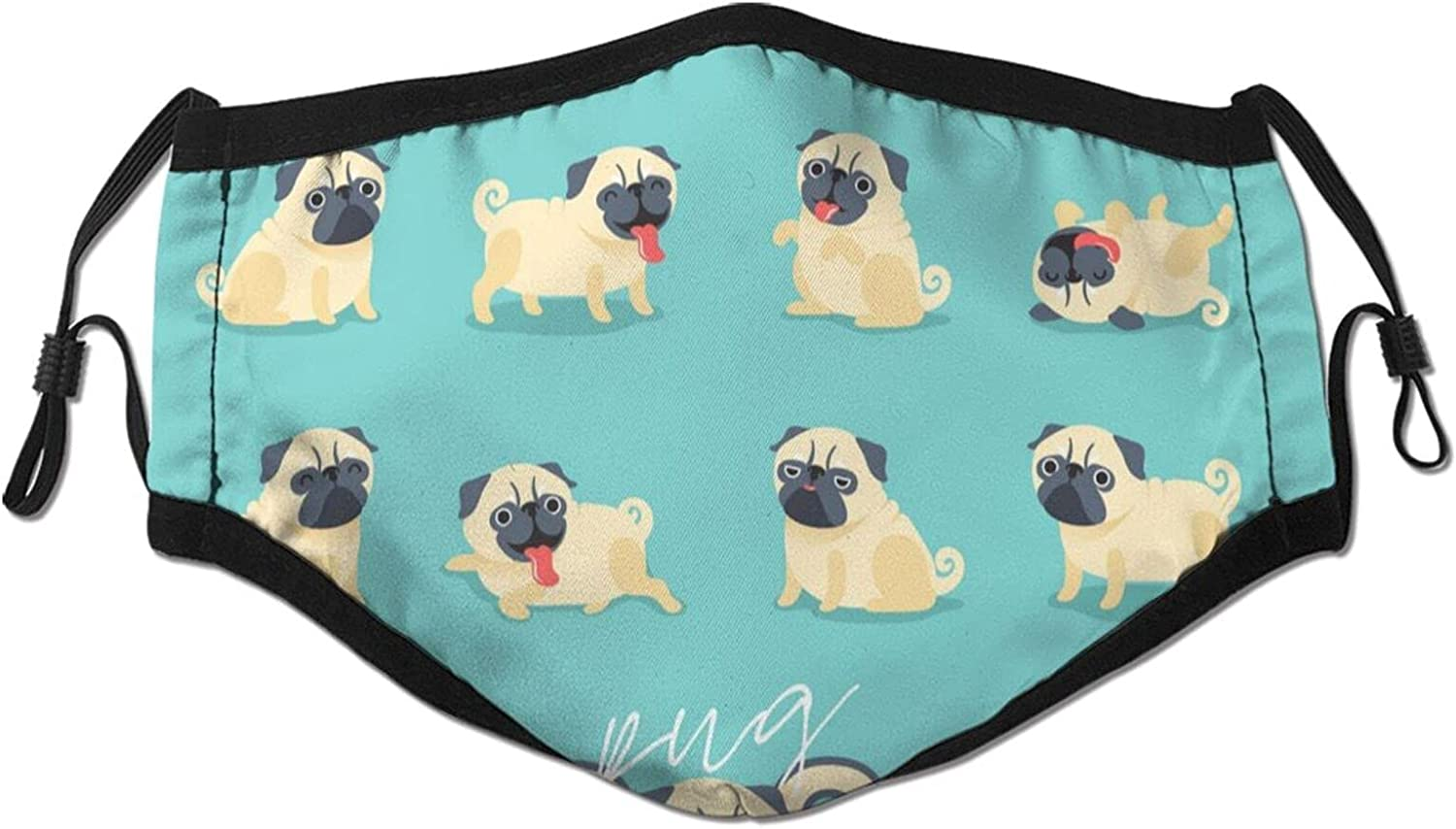 Cartoon Pug In stock Face Mask Washable and Adjustable Topics on TV Reusable E Neutral