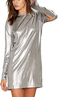 Womens Dress Fashion Mini Metallic Silver Open Long Sleeve Sexy Bodycon Cocktail