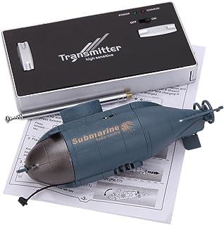PTCM Mini 6 Canales de Radio Control Racing Barco Submarino / C Toys R con el transmisor de 40 MHz 777-216 (Azul)