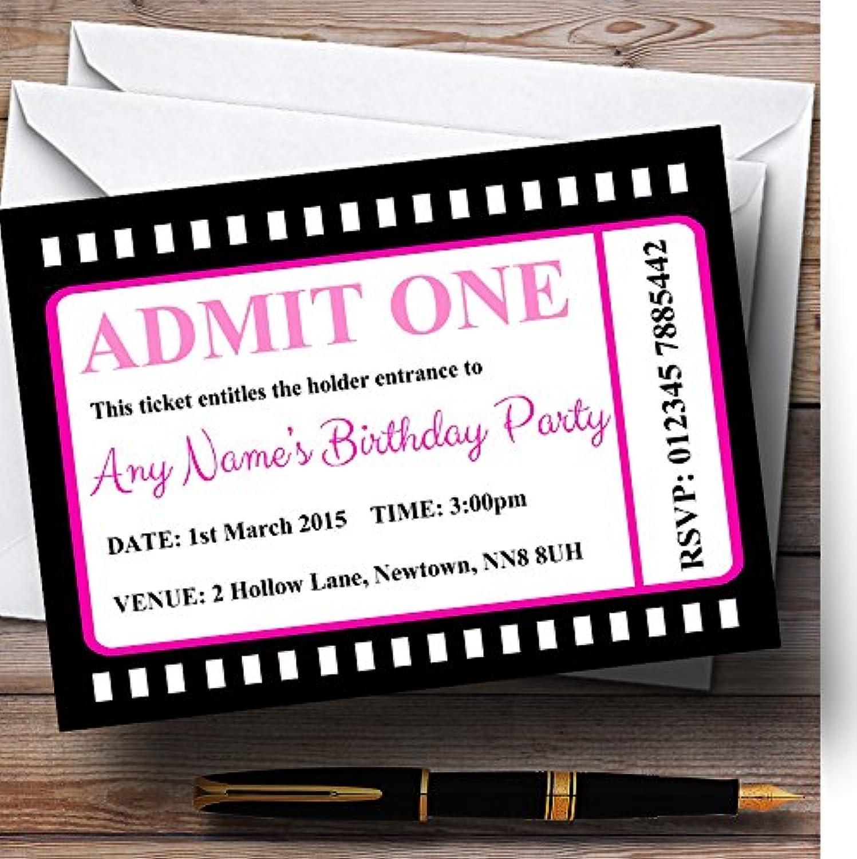 Movie Ticket Pink Personalised Birthday Party Invitations   Invites & Envelopes