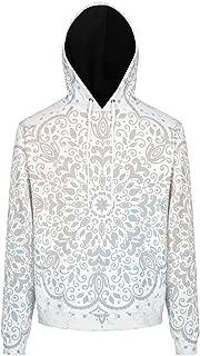 DYG88 Men's Sweatshirts Junior Grey Mandala Pattern Originals - Indian Style with Pocket Loose-Fit Autumn Tops