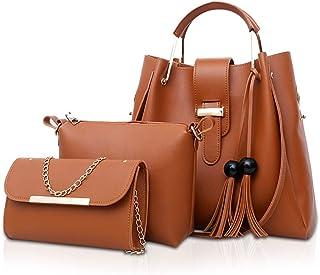 NICOLE & DORIS Damen Handtaschen 3 Stück Taschen für Damen Kette Tasche Top-Griffe Schultertaschen PU Leder Tragetaschen Umhängetasche Braun