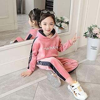 Autumn Winter Sports Suit Children Clothing Set Girls Thick Velvet Hoodies+Pants boy Kids Tracksuit