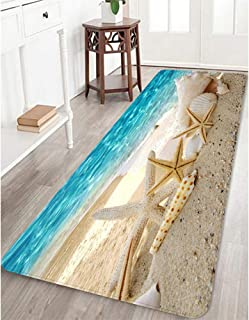 Memory Foam Bath Mat Non Slip Bathroom Rug Absorbent Bathroom Carpet Seashells Starfish Rug Soft and Cozy 24 inches X 71 inches