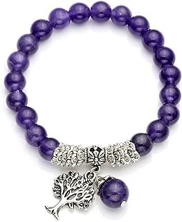 Top Plaza Stretch Rose Quartz Tree of Life Lucky Stone Bracelet Reiki Healing Crystal Gemstone Dangle Charms Pendant Birthstone Bracelet(6.2