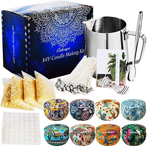 SaiXuan Kerzenherstellung Kit DIY Kerzen Handwerk Werkzeuge Kerze Machen Gießtopf mit 50 Stücke Kerzendocht Candle Wick und 2pcs Edelstahl Docht Feste Halterung für Kerzenherstellung