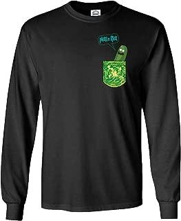 Qasimoff New Graphic Tee Shirt Pickle Rick in a Pocket Funny Men's Long Sleeve T-Shirt