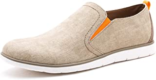 GOLAIMAN Mens Canvas Shoes Slip on Sneakers Waterproof Casual Shoes Beige Size: 9.5