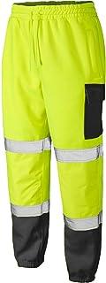 New HI VIZ VIS Jogging Bottoms Work WEAR Safety Trousers Two Tone Highway Builder Safety Fleece Joggers Sweat Pants S-5XL